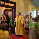 Fr. Justin greets His Grace before the Liturgy