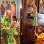 Bishop Alexander prays the special prayers for Pentecost during Kneeling Vespers