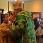 Bishop Alexander kisses the Gospel just before the Little Entrance