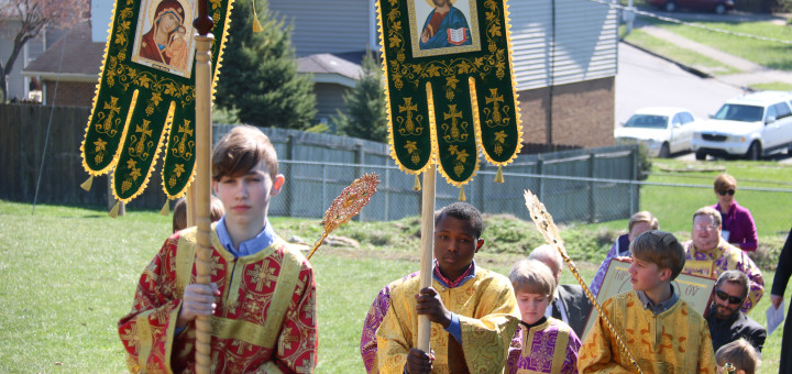 Sunday of Orthodox, Procession, St. Athanasius Orthodox Church, banners